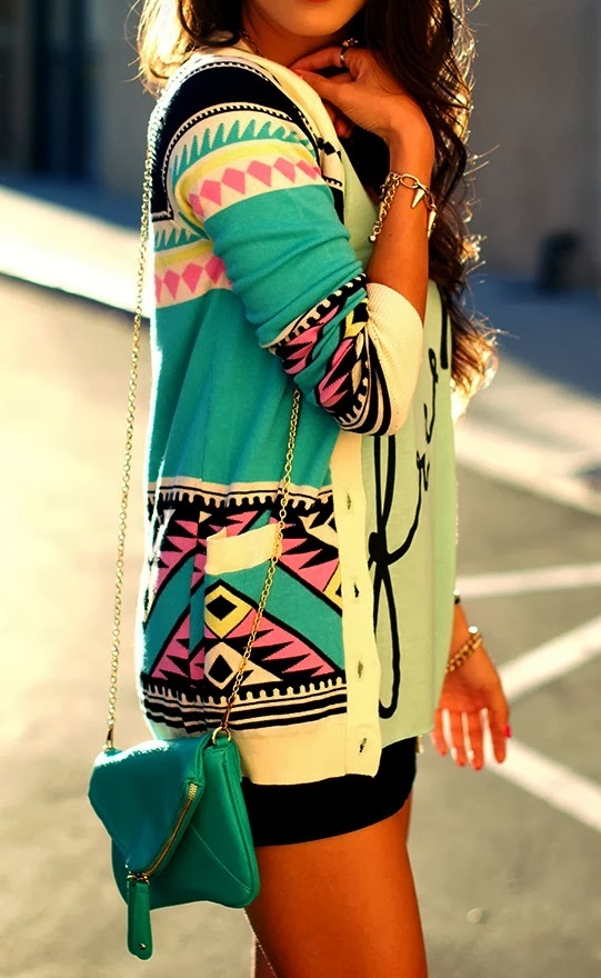 Adorable, Colorful Patterned Long Cardigan with Blue Long Bag, Mini Black Short, Accessories and Sports T-shirt, Fashion for Fall and Spring