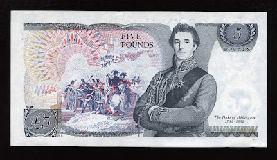 British banknotes money Pounds Sterling, Duke of Wellington