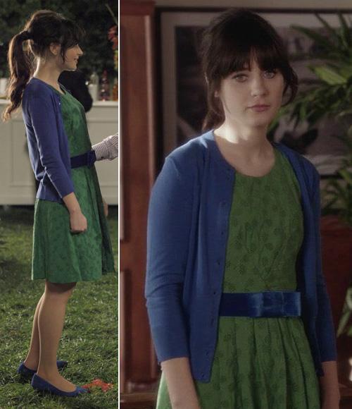green dress blue cardigan