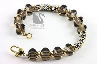 Bali Beaded Smoky Quartz Gemstone Bracelet (B109)