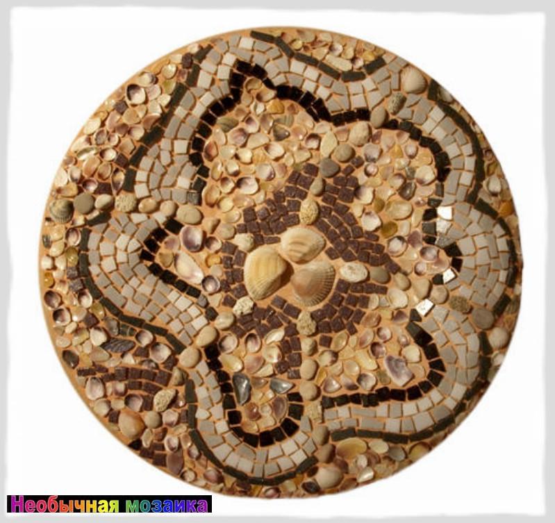 """Декоративное настенное панно  """"Ракушки """".  Основа - шамотная тарелка, декор преимущественно из природных материалов."""
