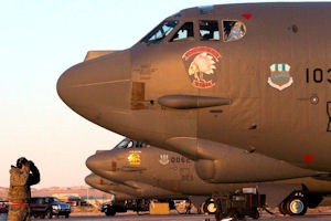 Three B-52s from the 96th Bomb Squadron at Barksdale Air Force Base