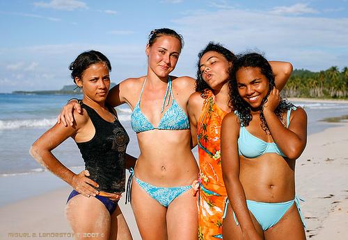 Dominican Republic Girls Bikini On Beach