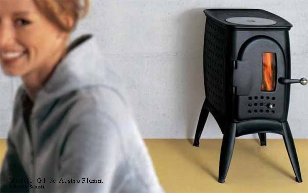 pequeña estufa negra diseño _austro flamm _stove