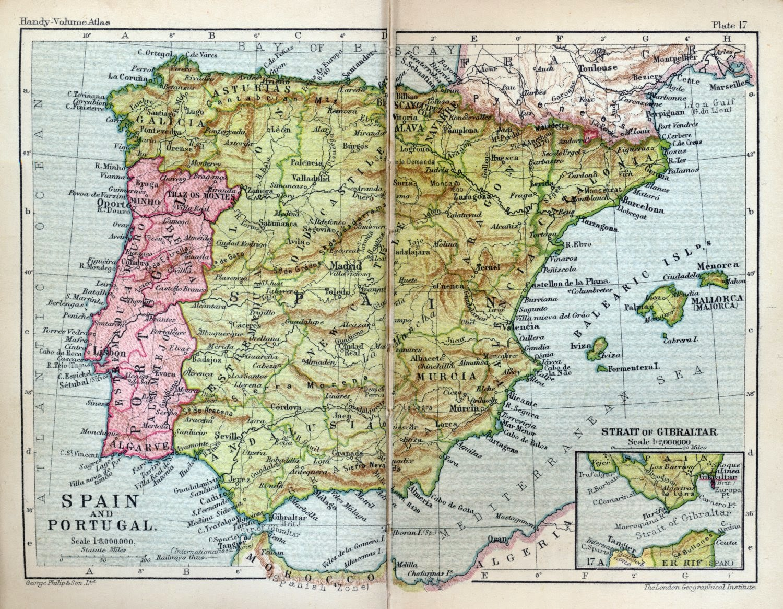 España y Portugal, George Philip & Son 1932