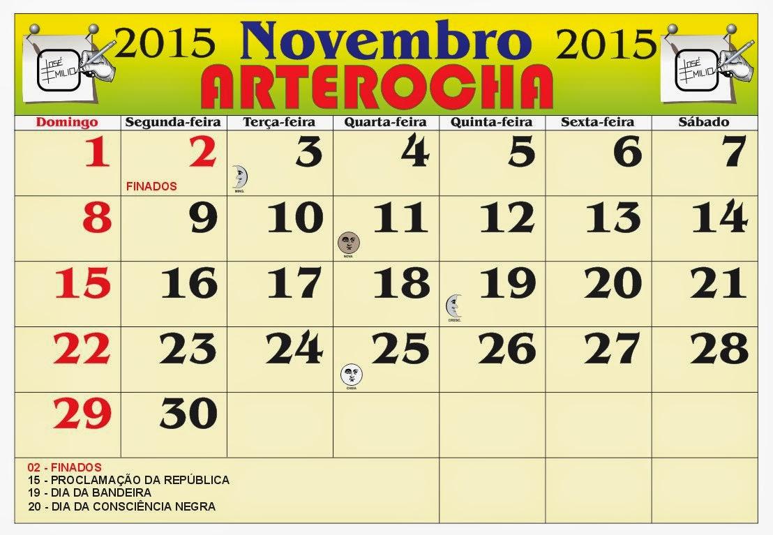 ... do mês de Novembro 2015, com as fases da lua e feriados nacional