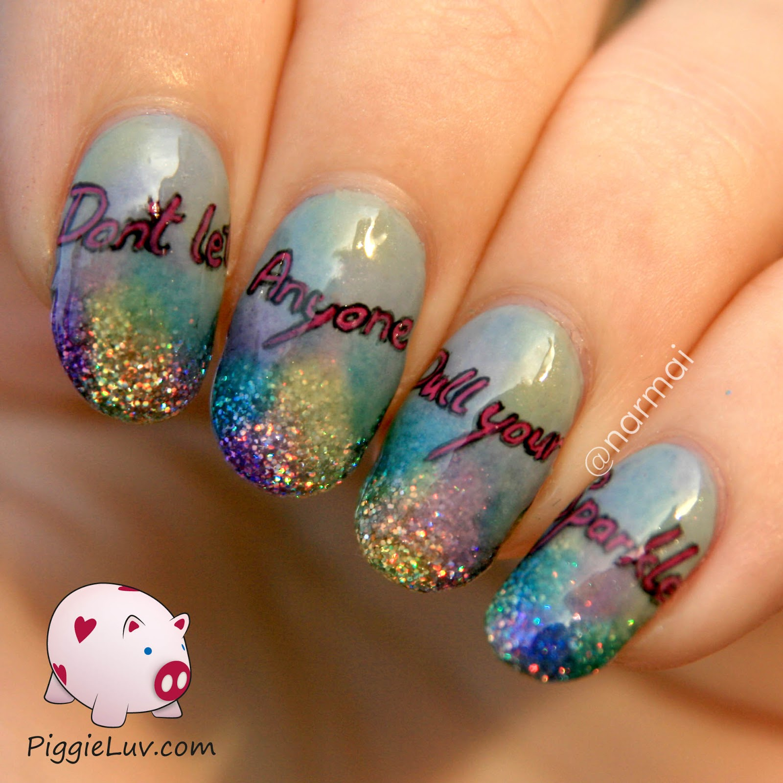 PiggieLuv: Don\'t let anyone dull your sparkle! Nail art with a message
