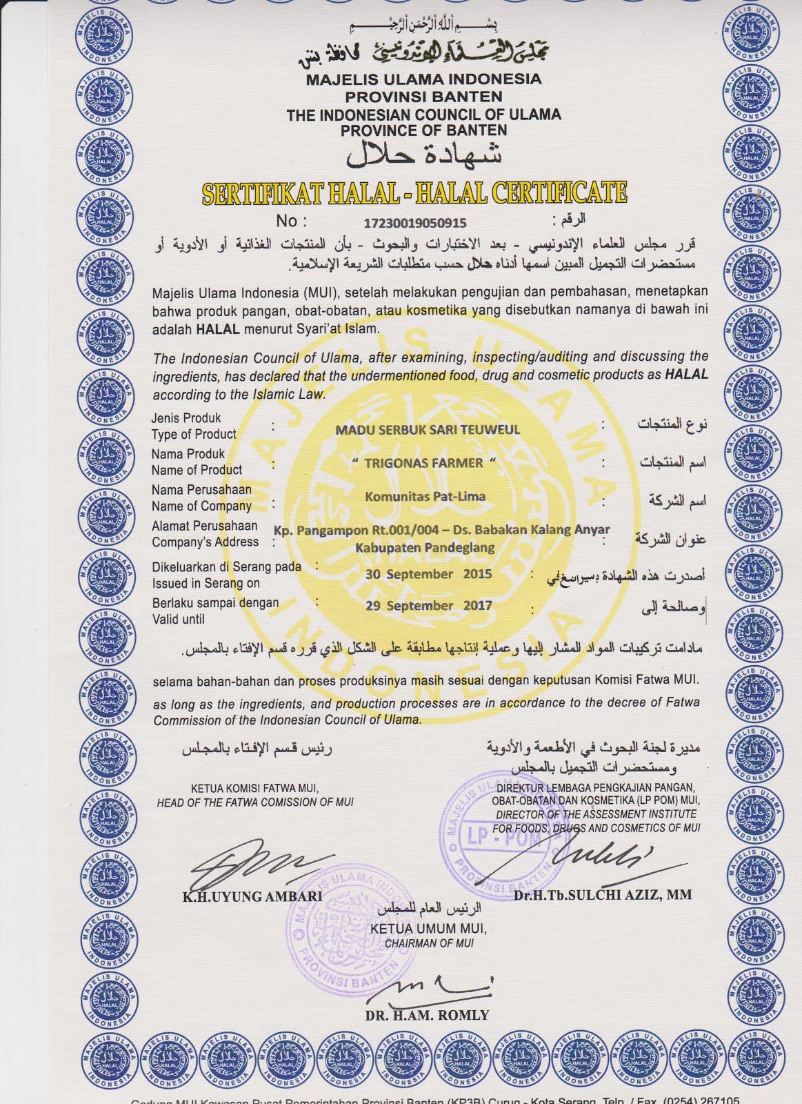 bersertifikat halal