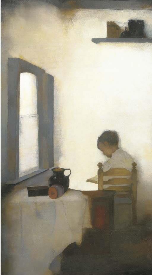 J Mankes. Interieur met Lezence Jongen, 1911