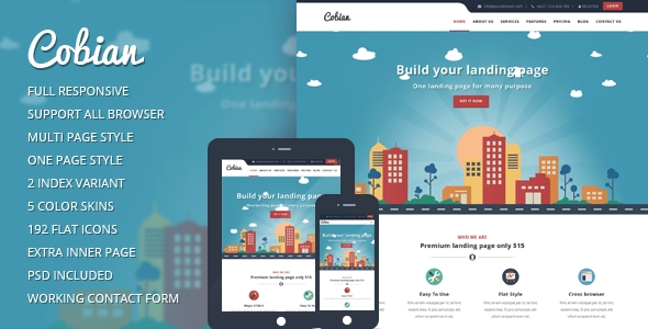 buy and download Cobian - Flat Bootstrap Landing WordPress Theme
