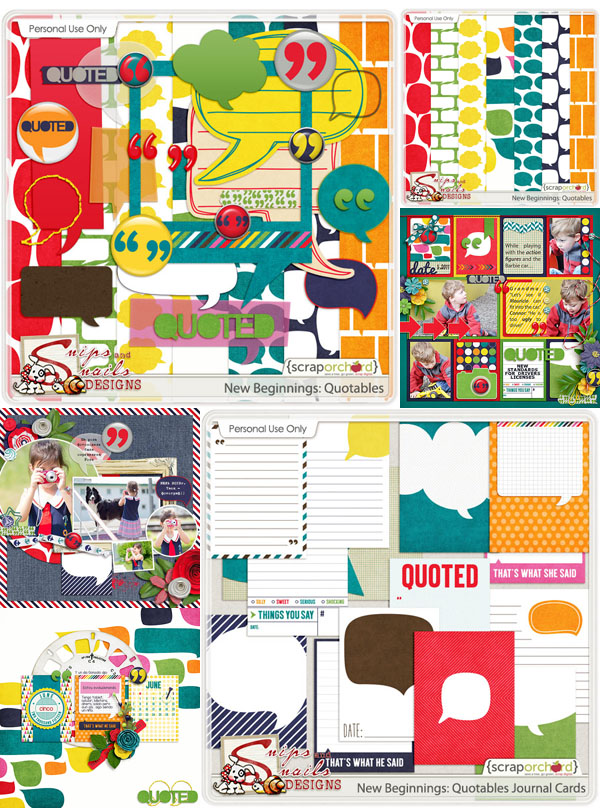 New Beginnings: Quotables Digital Scrapbook Products by Snips and Snails Designs