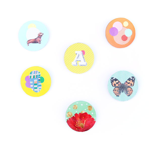 handmade collage badges: dachshund on powder blue, circles on orange, monogram initial a on yellow, butterfly on green, shapes on yellow and red flower on green