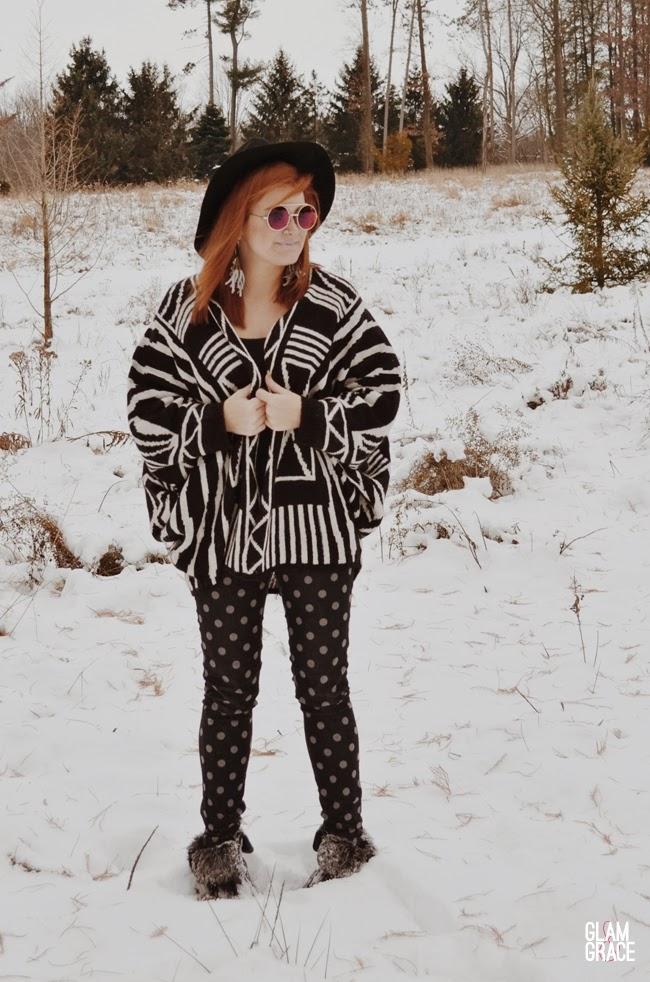 black & white pattern mix - polkadot pants