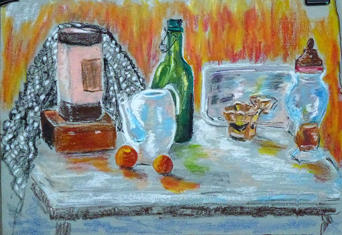 Art de vivre la peinture de peintrefiguratif croquis pastel gras nature morte sur papier gris for Peinture pastel gras