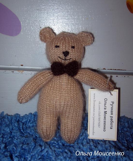 медведь спицами, мишка спицами, заказать вязаную игрушку