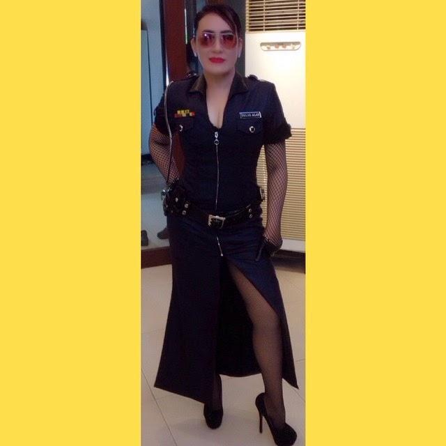 Aiai Delas Alas in High-Slit Policewoman skirt
