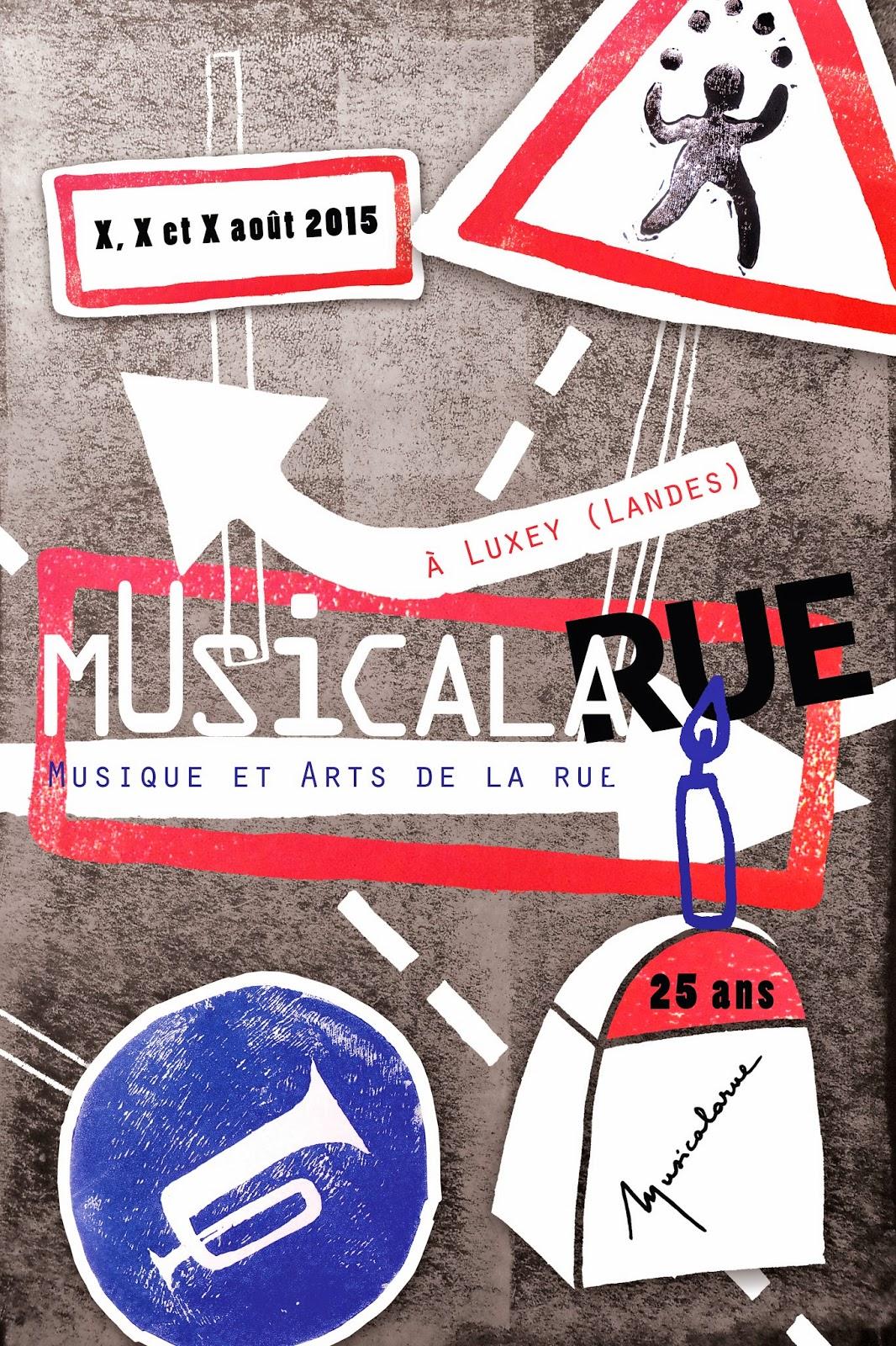 affiche musicalarue linogravure