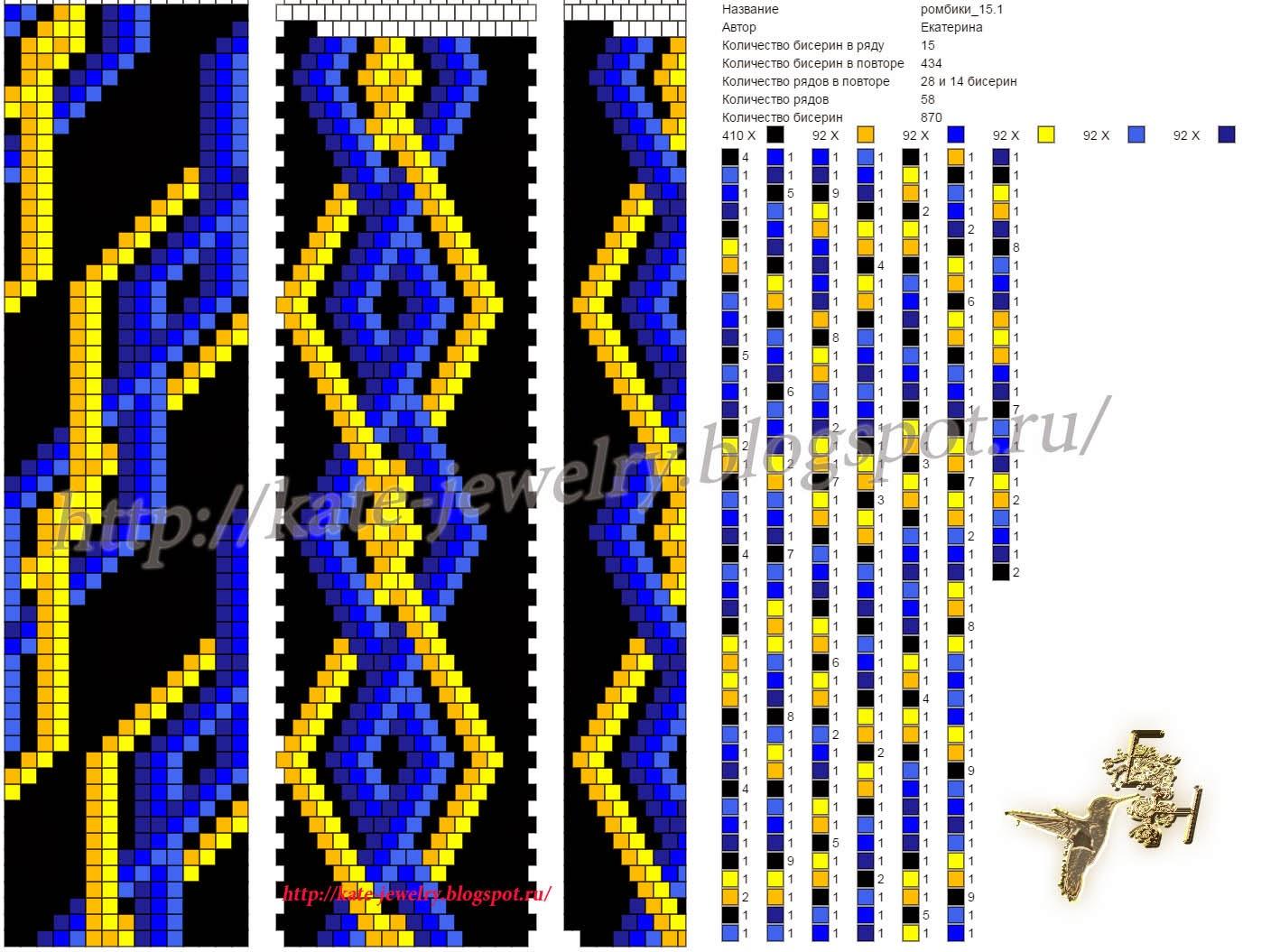 Схемы связанных жгутов из бисера