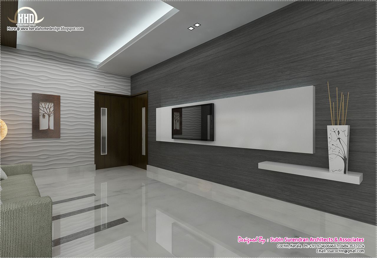 Black and white themed interior designs kerala home for Kerala house living room interior design
