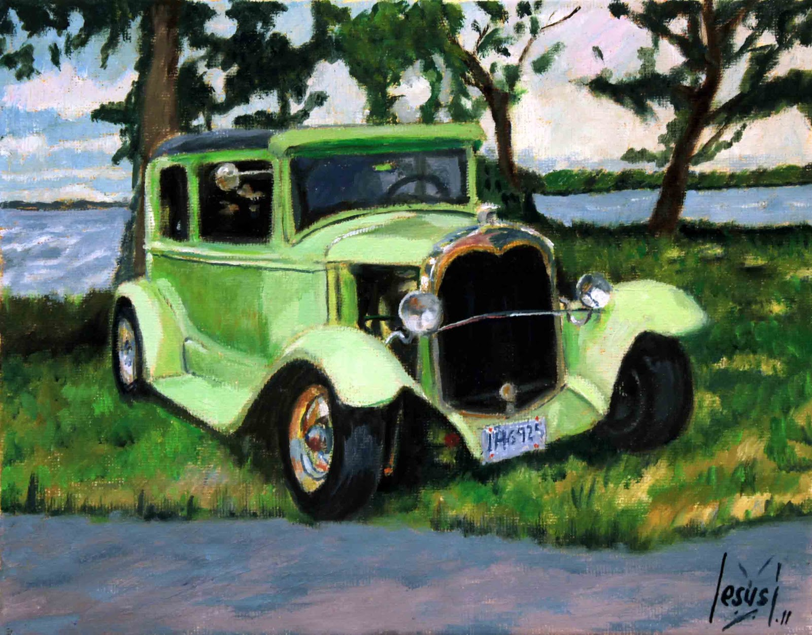 Arte Jesus Estevez Fuertes: A GREEN OLD CAR