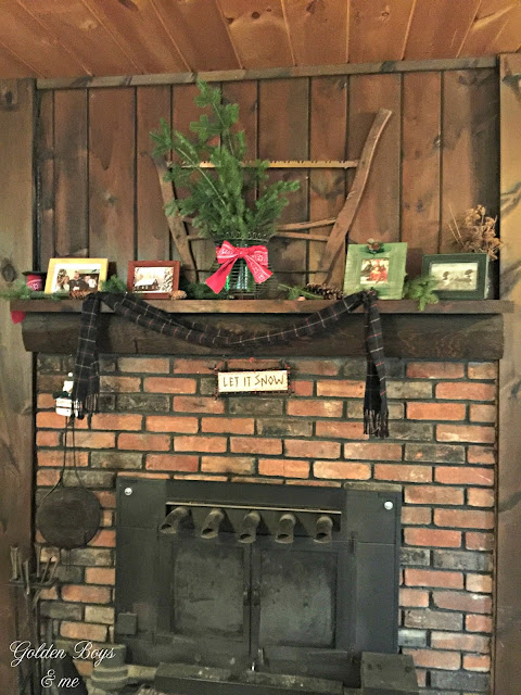 Rustic brick fireplace - www.goldenboysandme.com