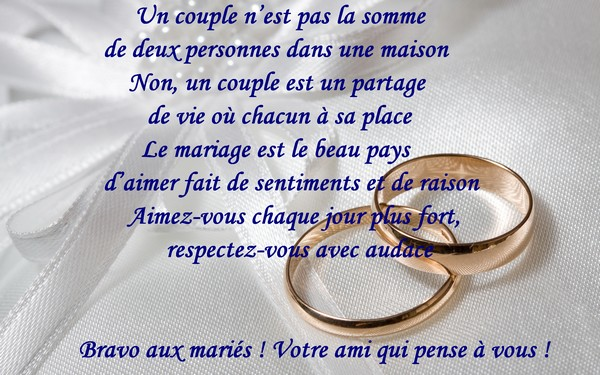 un couple nest pas la somme de deux personnes dans une maison - Texte Felicitations Mariage