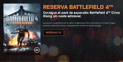 Captura del anuncio del primer DLC del juego Battlefield 4 que regalaran con la reserva.