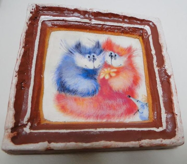 Ceramic picture cute cats made in Lviv, Ukraine