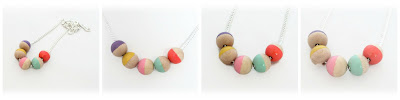 Wood Bead Necklace hand painted by Lottie Of London