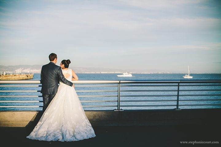 """""""bride and groom overlooking san francisco bay at sunset"""""""
