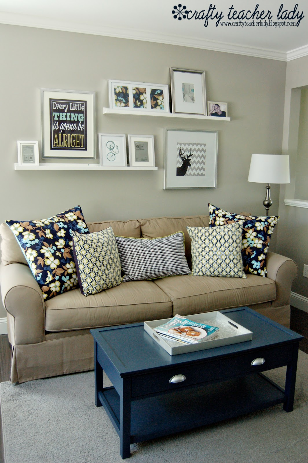 Crafty teacher lady coffee table makeover Over the sofa wall decor ideas