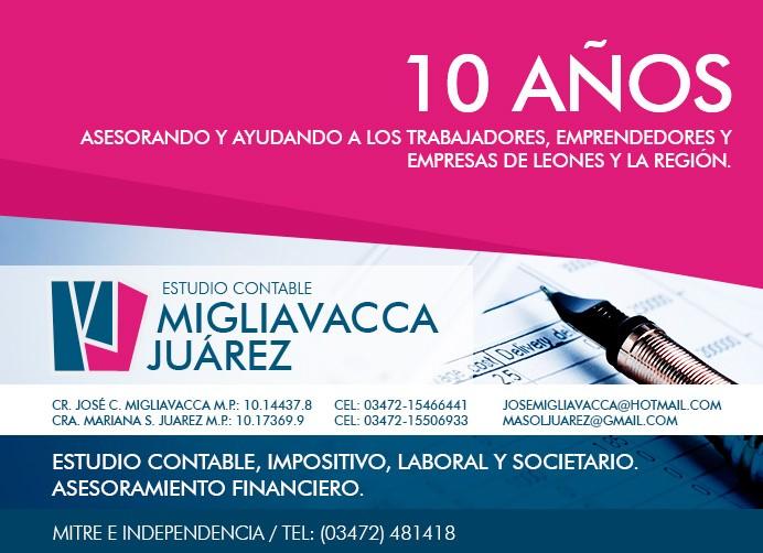 ESPACIO PUBLICITARIO: ESTUDIO CONTABLE MIGLIAVACCA / JUAREZ