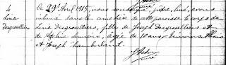 Lina Desgroseilliers burial record 1915