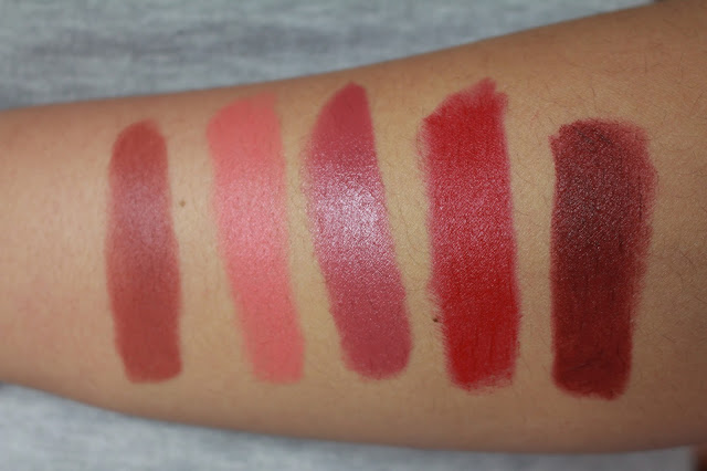 Gerard Cosmetics Lipstick Review And Swatches! 1995, Tequila Sunrise, Berry Smoothie, Fire Engine, Cherry Cordial.