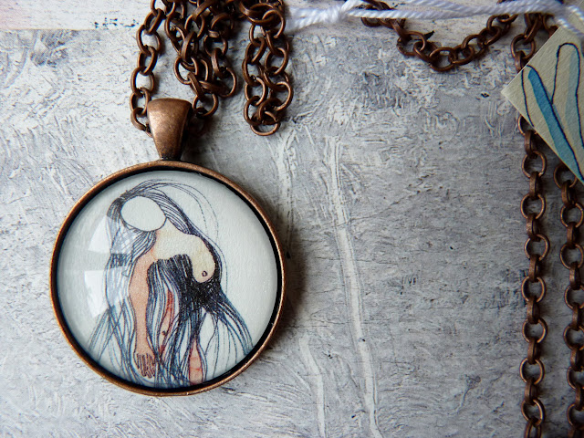 WEARABLES necklace pendant naked woman art illustration portrait - fragments series by  Ana Pina