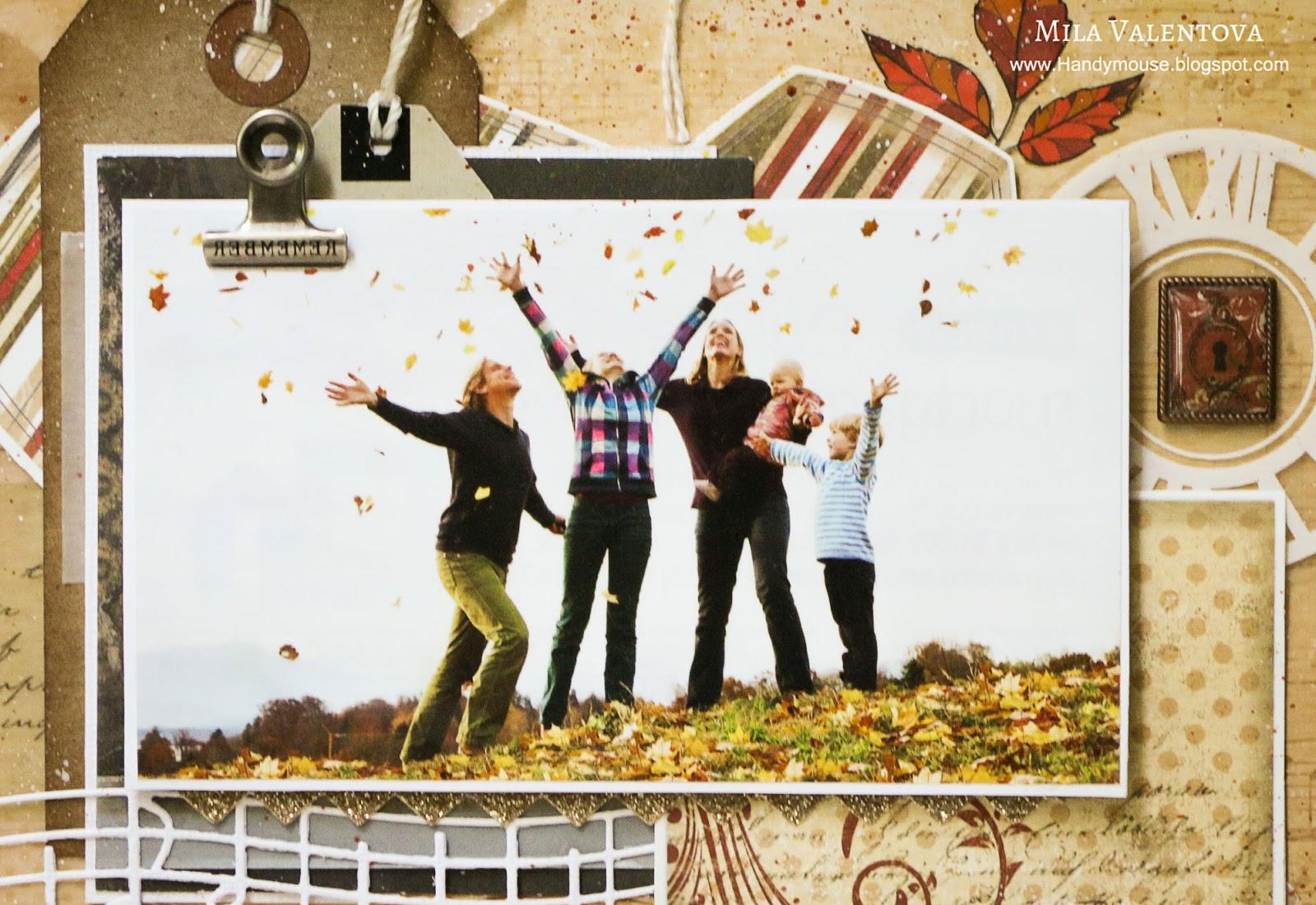 """Скрапбукинг. Страничка """"Осенняя радость - дождь из листьев"""". Мила Валентова."""