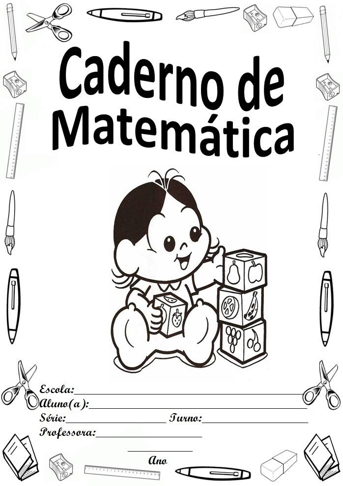 Capa Para Caderno Turma Da Monica Baby Matematica