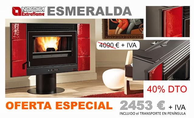 oferta especial esmeralda nordica extraflame estufa de biomasa