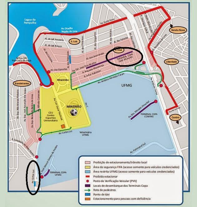 mapa das proximidades do estádio em BH na Copa das Confederações