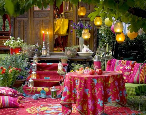Bohemian Backyard Party : Trademark dark backgrounds, energetic colors, and layering of pattern