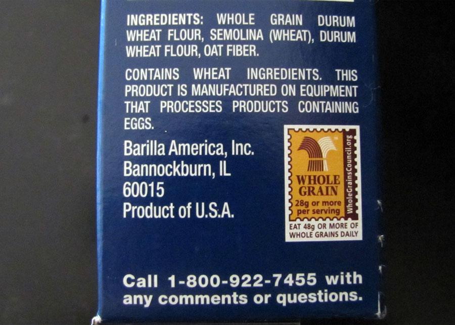 Whole wheat pasta ingredients
