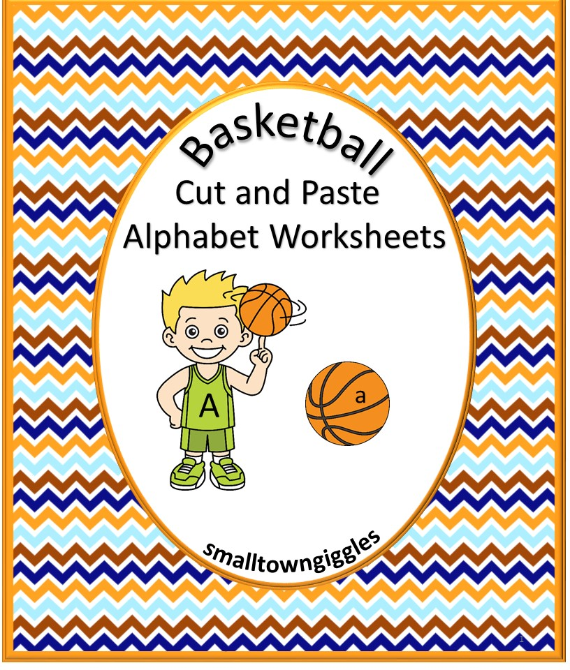 Basketball Cut and Paste Alphabet Worksheets