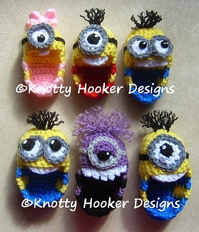 Free Crochet Pattern Minion Baby Booties : Knotty Hooker Designs: Minion Baby Booties