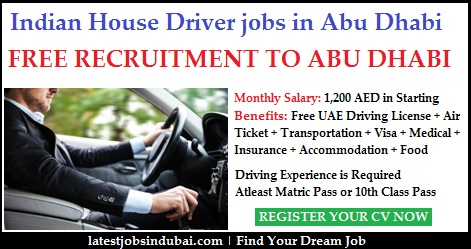 House Driver jobs in Abu Dubai with Accommodation