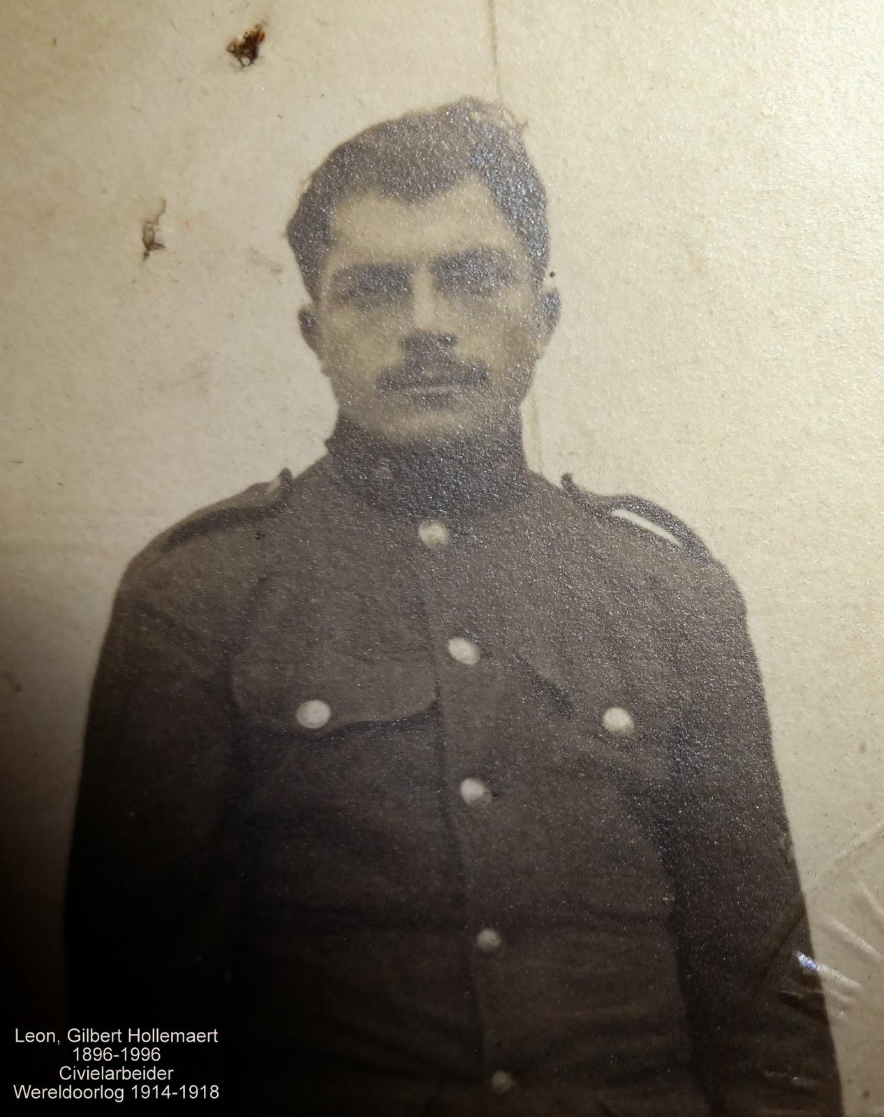 Leon Hollemaert 1896-1996 als soldaat. Legerarchief van Evere. Verzameling Leondyme.
