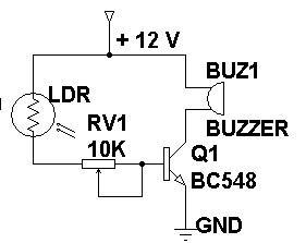 burglar alarm using ldr and bc 548