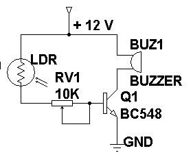 Circuit panel: Burglar Alarm Using LDR and BC 548