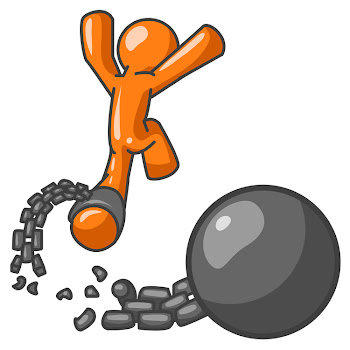 Orange Man Breaking Free From Ball & Chain