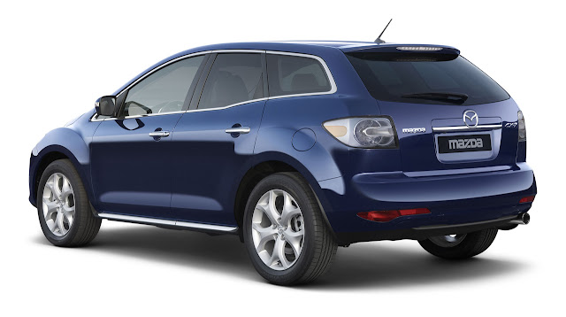 Rear 3/4 view of blue 2011 Mazda CX-7