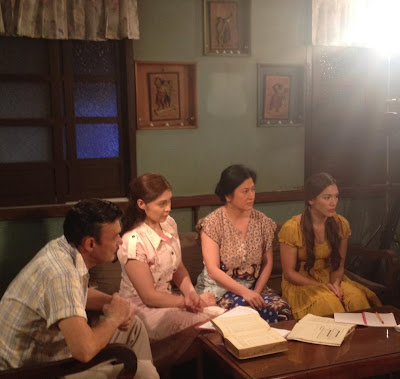 "Mark Gil, Sheryl Cruz, Melissa Mendez and Ciara Sotto on the set of ""Walang Hanggan."" Photo courtesy of Marie Lozano, ABS-CBN News"